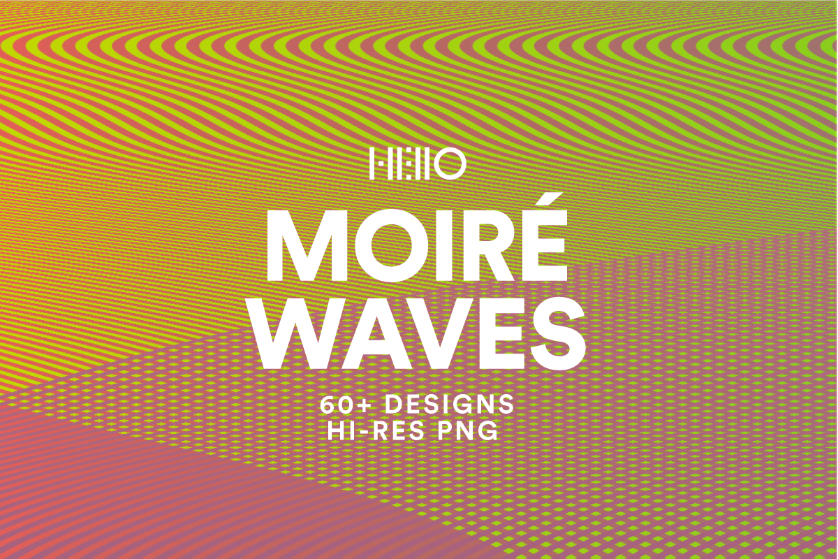 moire waves optical effects patterns art pack cover in yellow to pink gradient