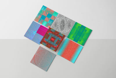 7 dynamic moire wave patterns with optical effects on square samples