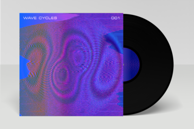 neon optical effects on album cover from moire waves digital art pack