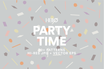 black party time cover with confetti and sprinkle patterns from new visual things and hello creative