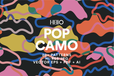 bright camouflage contemporary patterns digital art pack cover from new visual things and hello creative