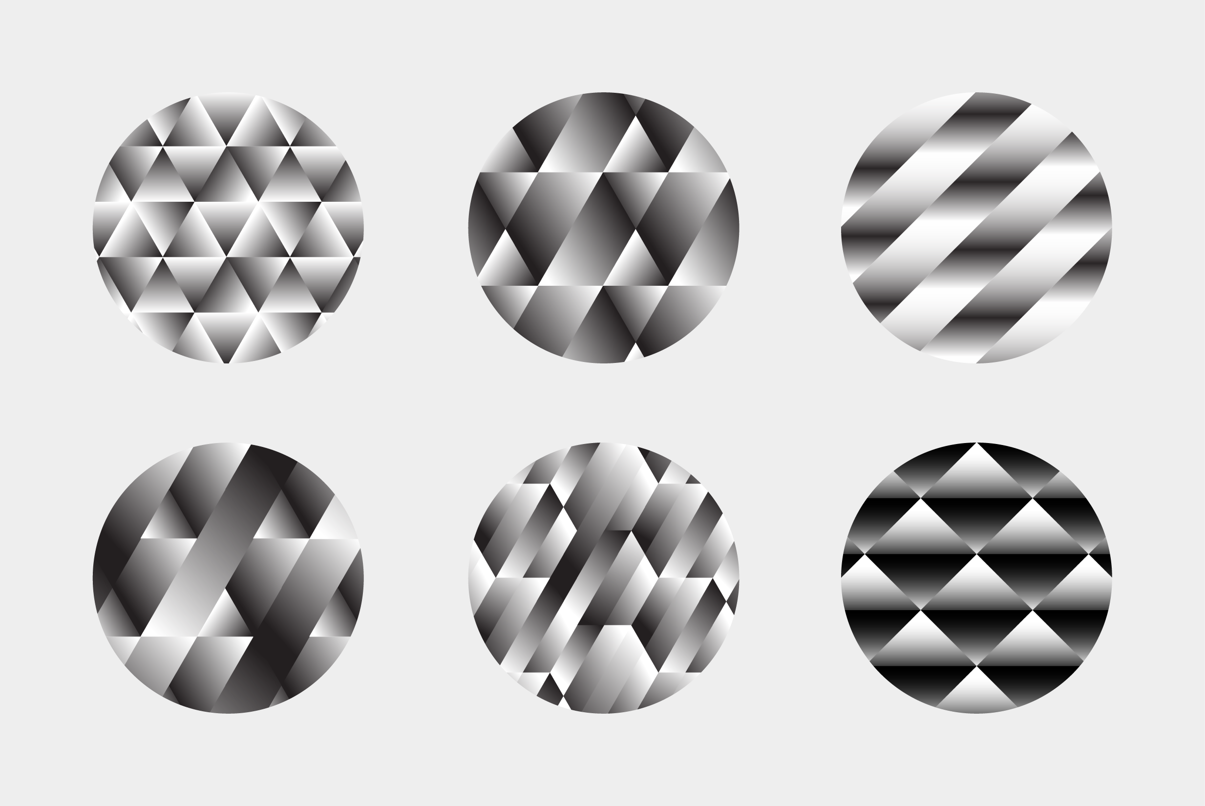 black and white gradient tile patterns on 6 round samples