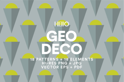 Geo Deco Los Angeles Art Deco Neutral Rich and Vivid digital pattern from new visual things and hello creative