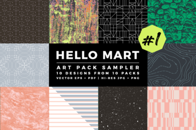 Hello Mart Art Pack Sampler Naturalistic Geometric and Lined Patterns