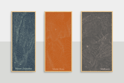 framed colorful contour maps of mount zugspitze, monte rosa and mulhacen hanging