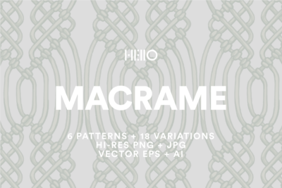 seamless macrame patterns with white text from new visual things and hello creative