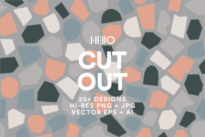 cut out paper collage patterns and elements cover with text from new visual things and hello creative