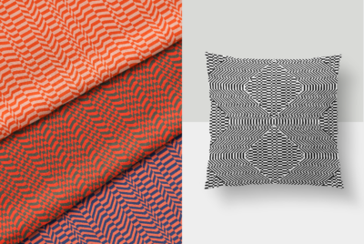 b&w analog vector pattern on pillow with 3-color fabric samples in opposite frame