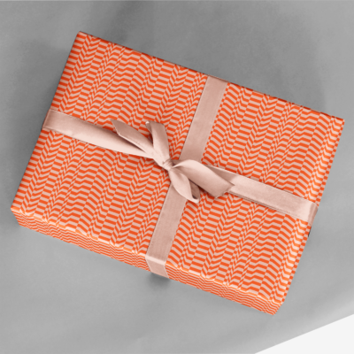 present wrapped in orange vector pattern glitch wave gift wrap