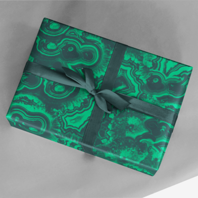 gift wrapped in vibrant green malachite wrapping paper