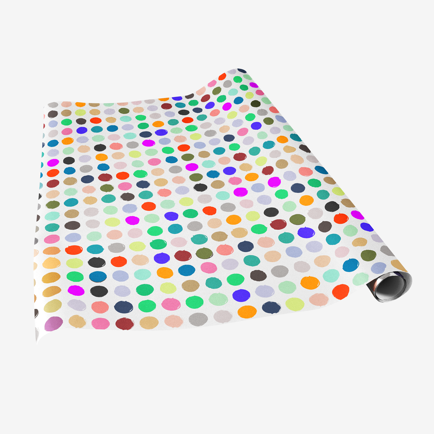 vegetable stamp gift wrap rainbow colored polka dots