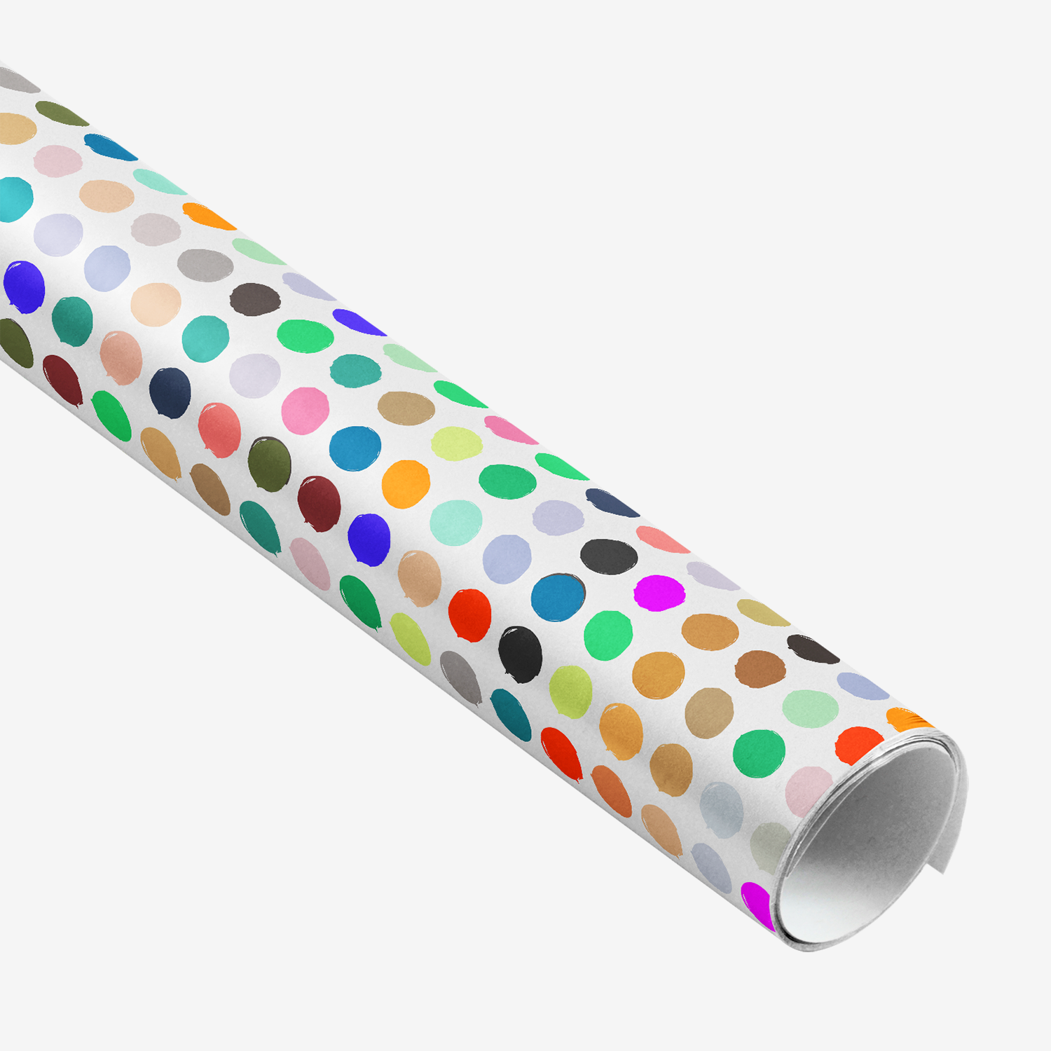 colorful polka dot vegetable stamp gift wrap rolled up