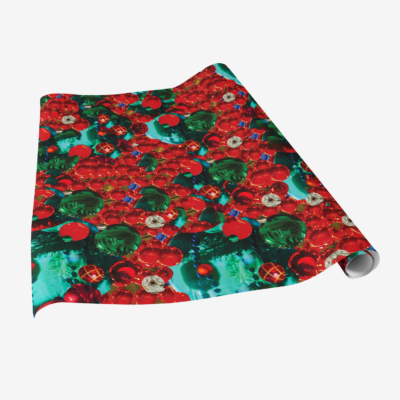 red colorful holiday ornaments gift wrap