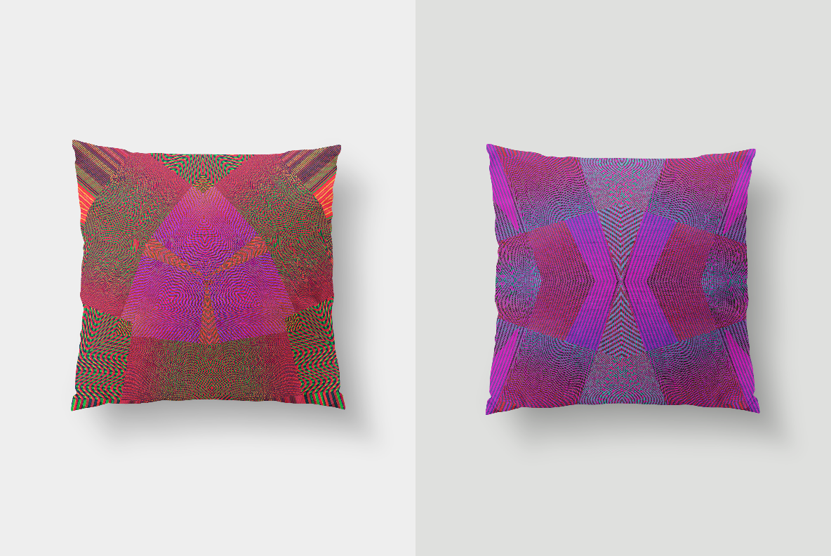 multi-colored optical effects and designs on pillows from moire waves digital art pack