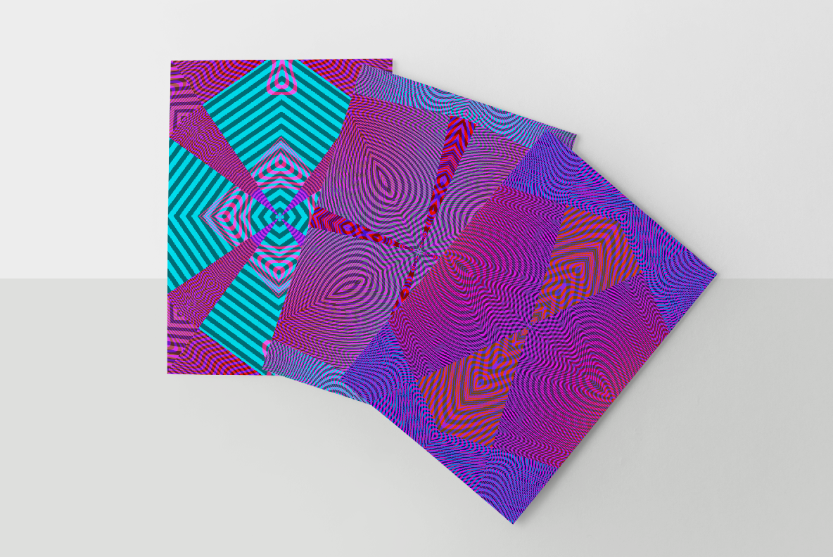 multi-colored neon optical effects and designs on papers from moire waves digital art pack
