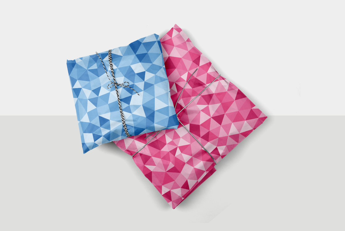 blue and pink color facet patterns
