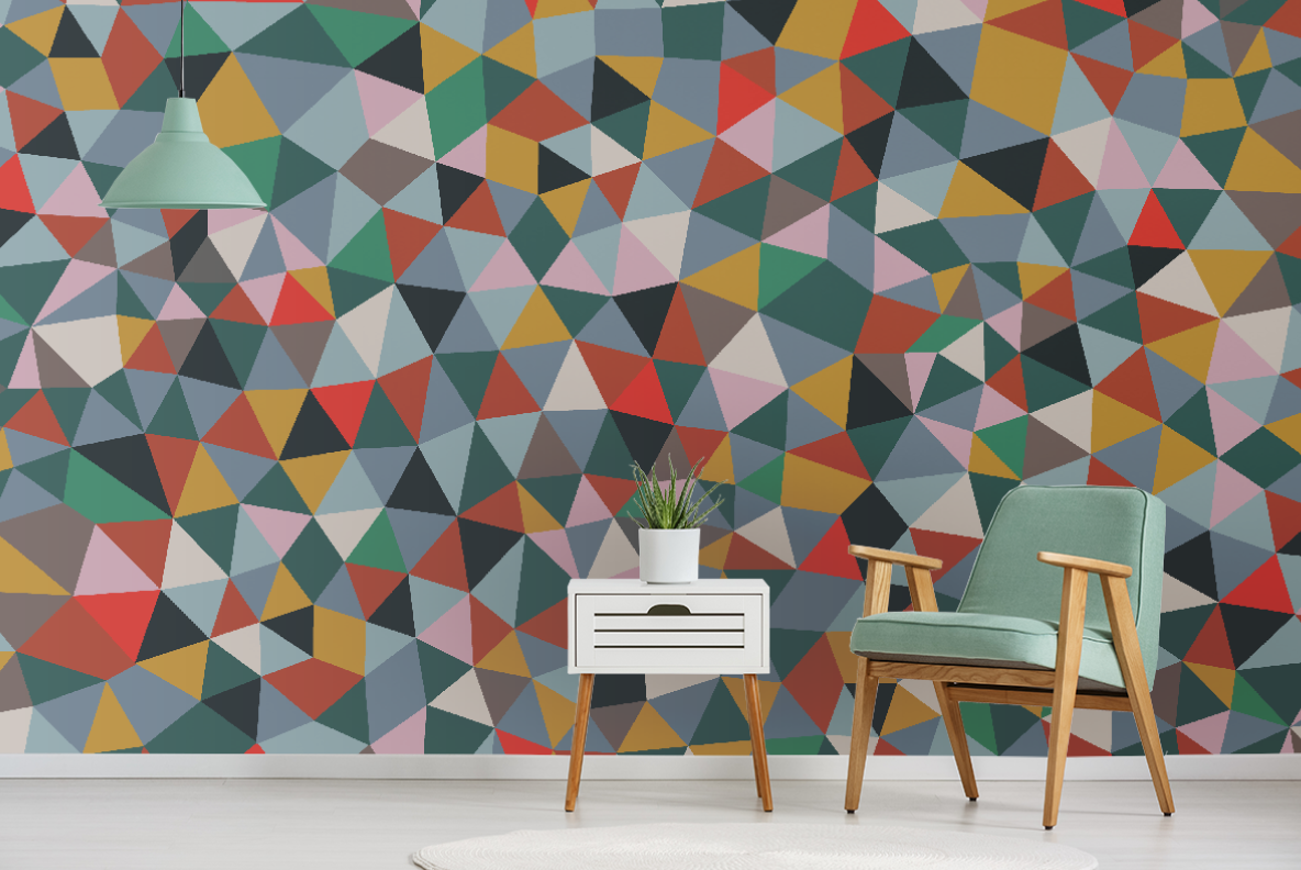 warm neutral color shard pattern wall mural