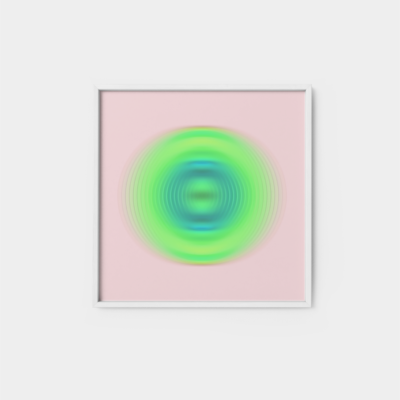 light pink and neon green orb print